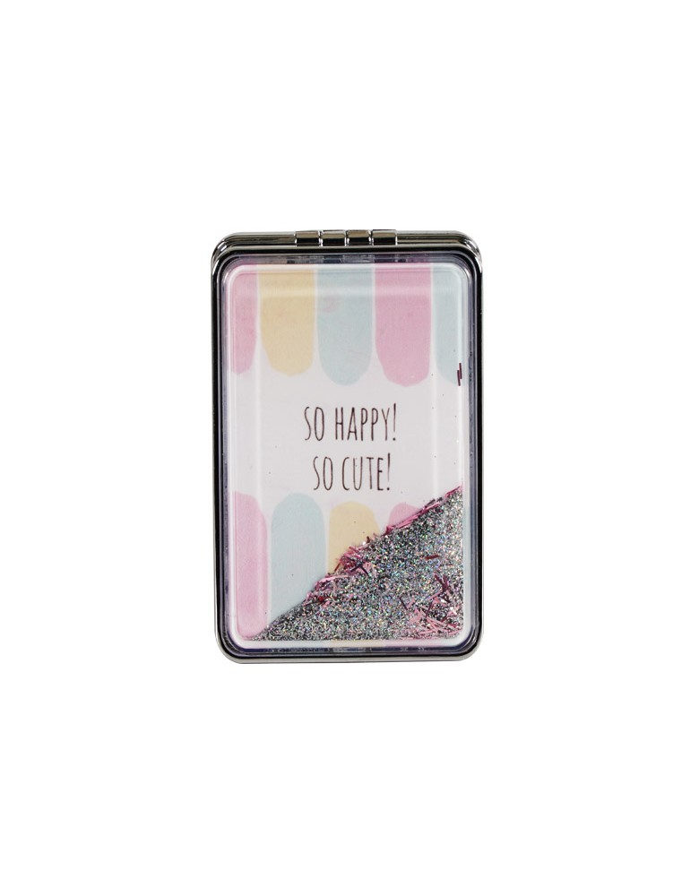 [ 14044-2 ] GTS MODA Happy Quotes Glitter Mirror - Πολύχρωμο - PVC
