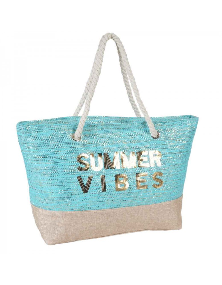 [ 306-1 ] GTS MODA Summer Vibes Beach Bag - Turquoise -  Ύφασμα