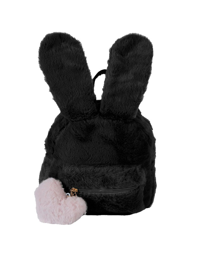 [ 8366-1 ] GTS MODA Faux Fur Rubbit Backpack  - Μαύρο
