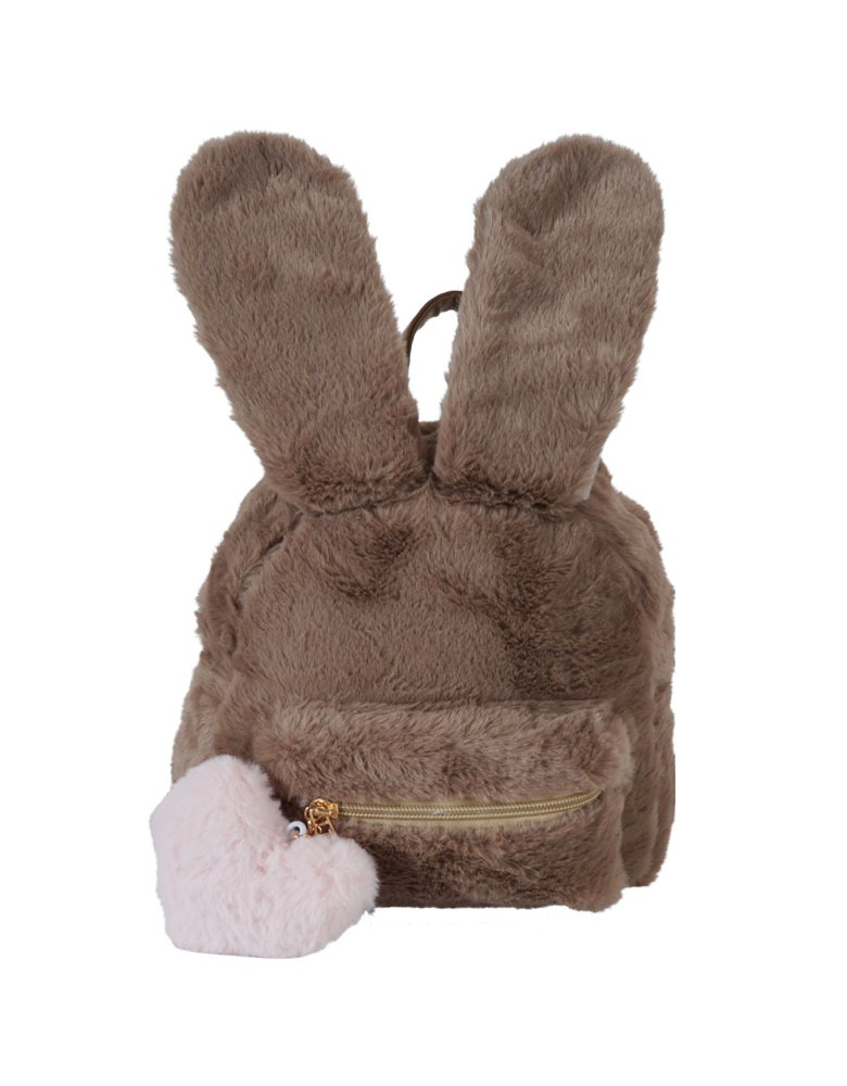 [ 8366-7 ] GTS MODA Faux Fur Rubbit Backpack  - Καφέ