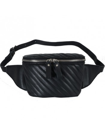[ 8263-1C ] GTS MODA Black Belt Bag - Τεχνόδερμα