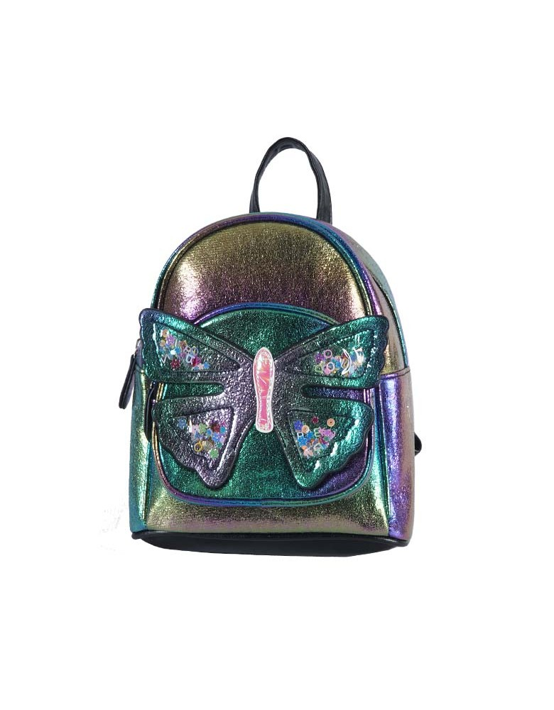 [ 98090-2 ] GTS MODA Butterfly Backpack  - Rainbow - Τεχνόδερμα