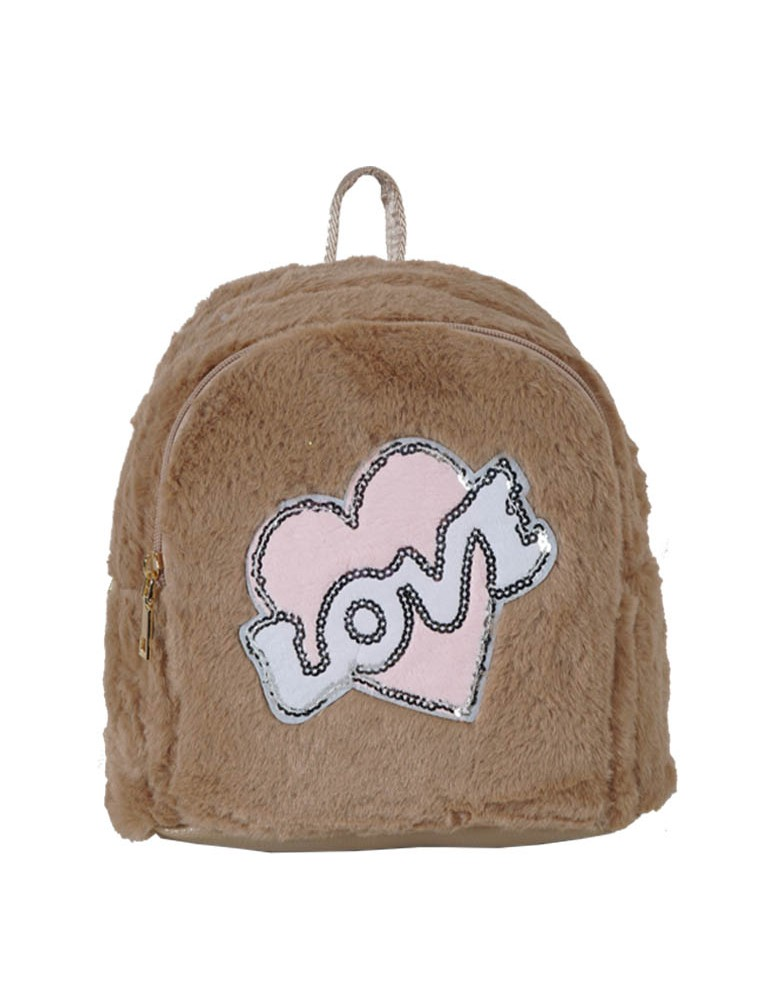 [ A1-1 ] GTS MODA Love Backpack  - Μπεζ - Faux Fur