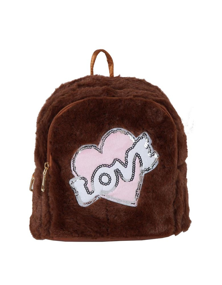 [ A1-3 ] GTS MODA Love Backpack  - Καφέ - Faux Fur