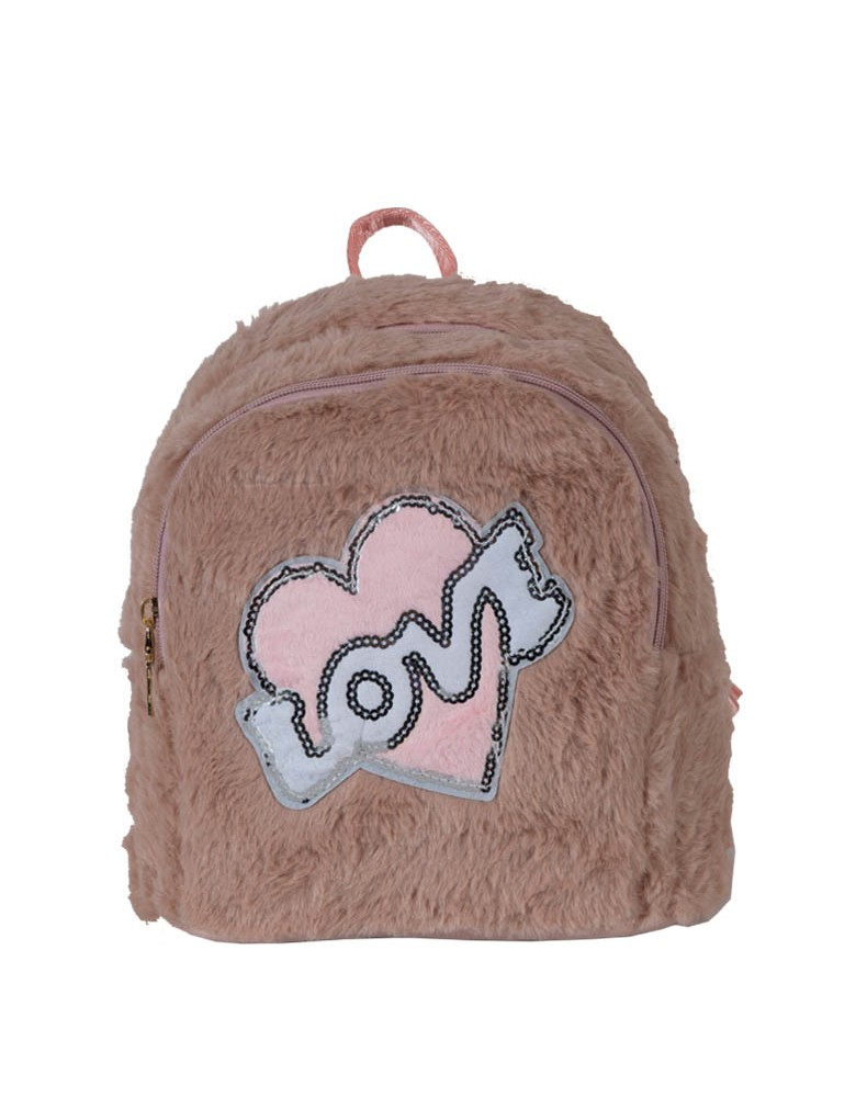 [ A1-4 ] GTS MODA Love Backpack  - Dusty Pink - Faux Fur