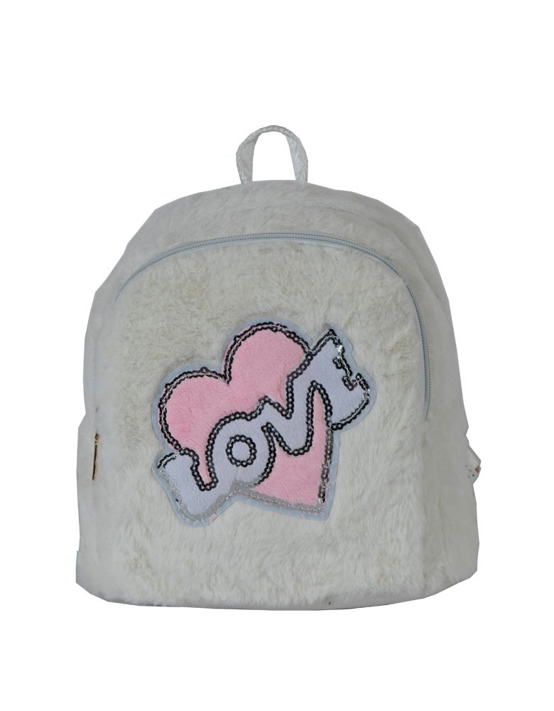 [ A1-5 ] GTS MODA Love Backpack  - Άσπρο - Faux Fur