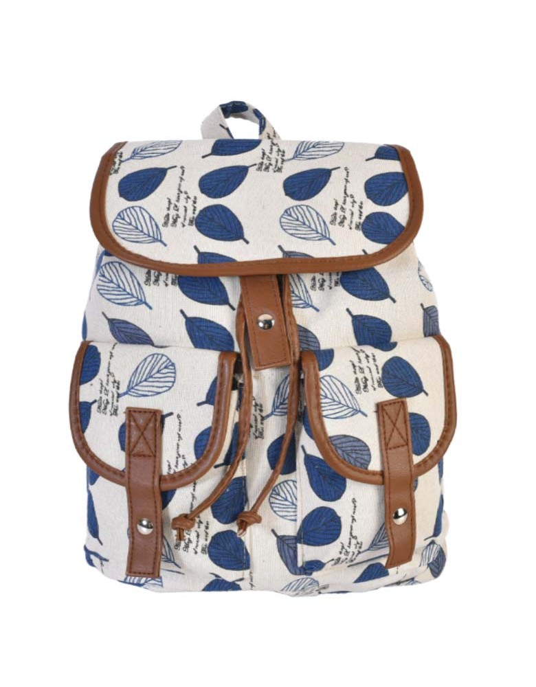 [ BB814-2 ] GTS MODA Blue Leaves Backpack - Πολύχρωμο - Ύφασμα