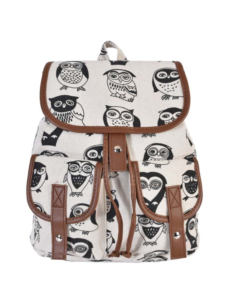 [ BB814-3 ] GTS MODA Owls in Black Backpack - Πολύχρωμο - Ύφασμα