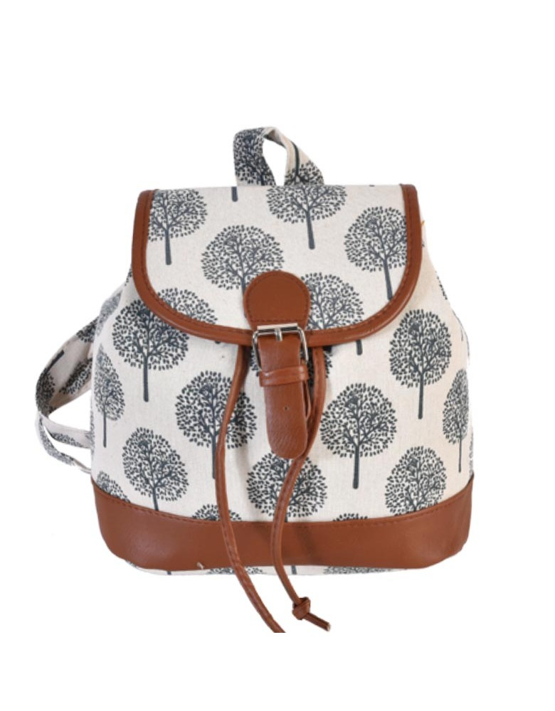 [ BB815-2 ] GTS MODA  Tree of Life Backpack - Μπεζ - Ύφασμα