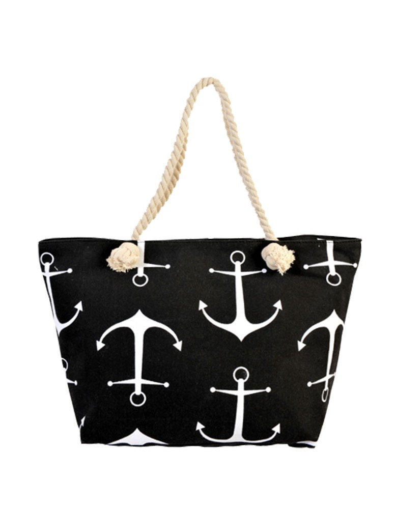 [ BB88-4 ] GTS MODA Anchor Beach Bag Μαύρο Ύφασμα