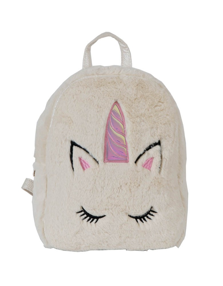 [ BB99-1 ] GTS MODA Unicorn Backpack  - Μπεζ - Faux Fur