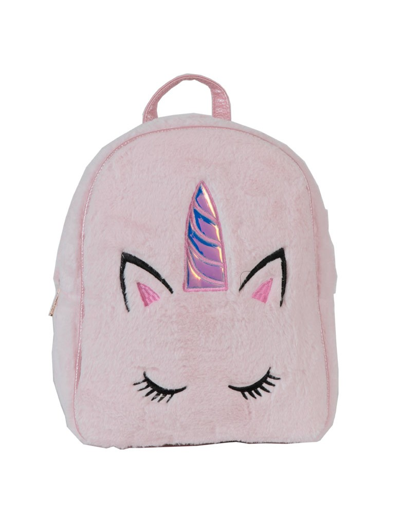 [ BB99-3 ] GTS MODA Unicorn Backpack  - Ροζ - Faux Fur