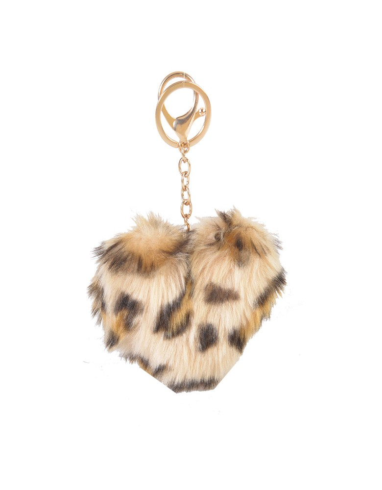 [ BR52-1 ] GTS MODA FURRY HEART BAG CHARM/KEY RING - Μπεζ