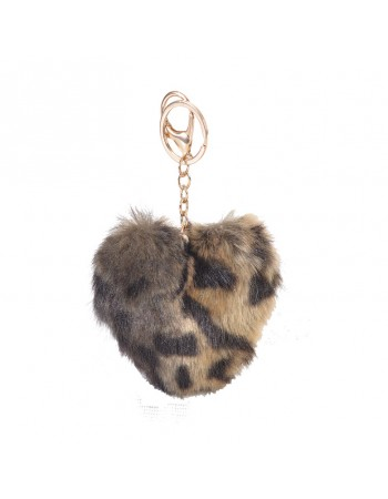 [ BR52-2 ] GTS MODA FURRY HEART BAG CHARM/KEY RING - Καφέ