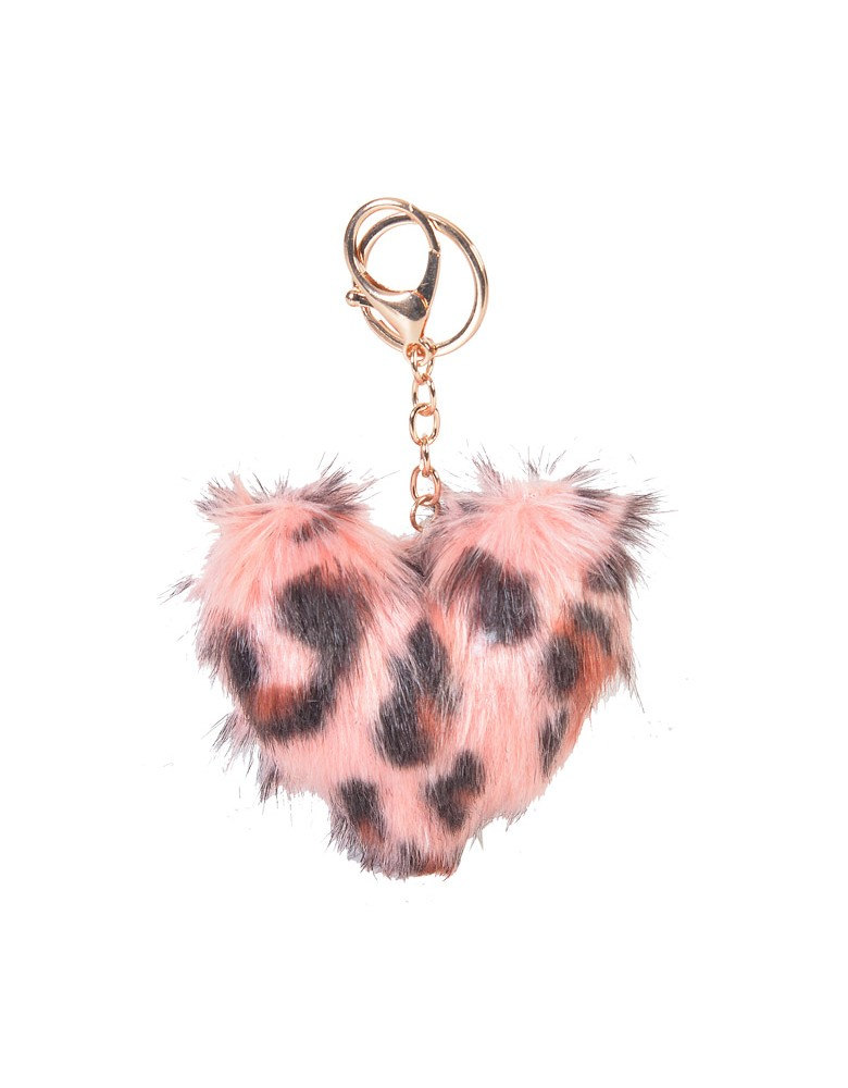 [ BR52-3 ] GTS MODA FURRY HEART BAG CHARM/KEY RING - Ροζ