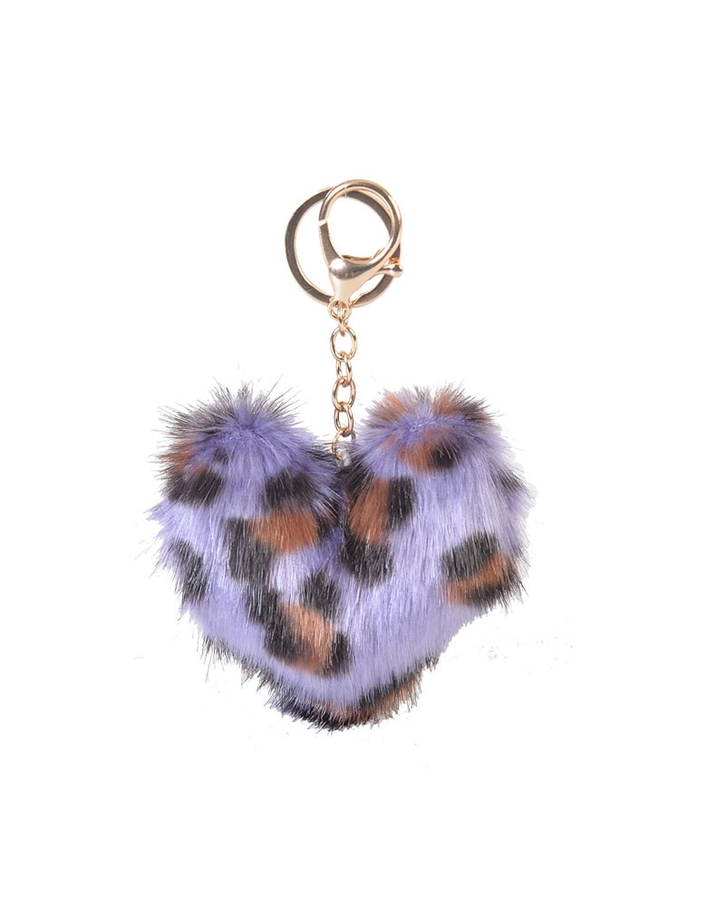 [ BR52-4 ] GTS MODA FURRY HEART BAG CHARM/KEY RING - Μωβ