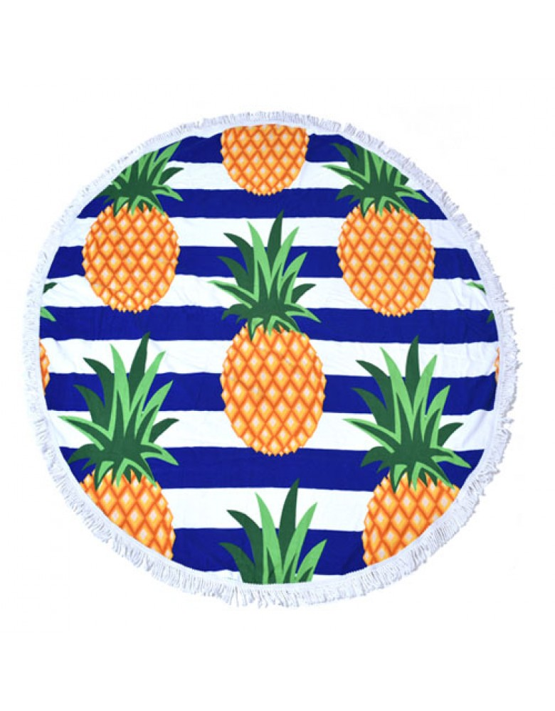 [ BT150-2 ] GTS MODA Pineapples Round Beach Towel 150cm - Πολύχρωμο - Microfiber