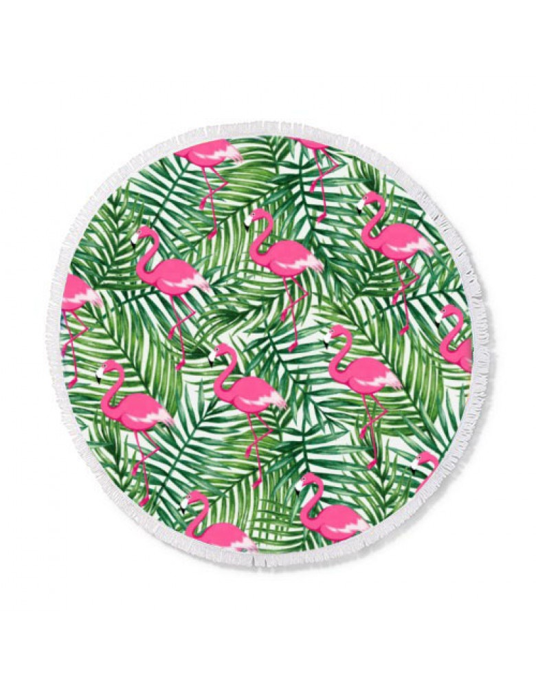 [ BT150-7 ] GTS MODA Flamingo Round Beach Towel 150cm - Πολύχρωμο - Microfiber
