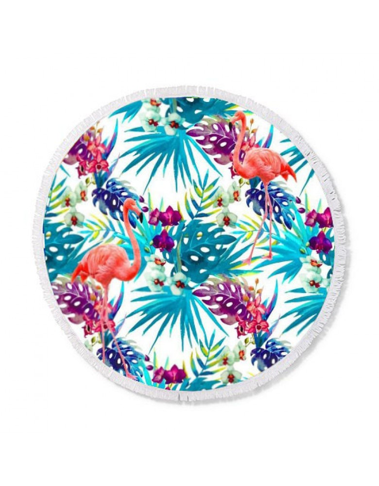 [ BT150-8 ] GTS MODA Flamingo Round Beach Towel 150cm - Πολύχρωμο - Microfiber