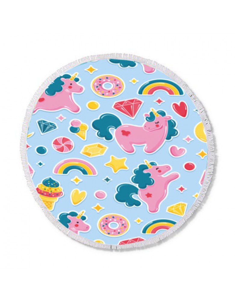 [ BT150-9 ] GTS MODA Unicorn Round Beach Towel 150cm - Πολύχρωμο - Microfiber